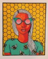 """Bee Girl 2"" Linocut on Rives BFK 12"" x 9 ½"""