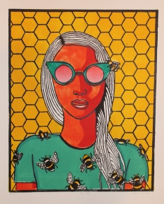 """Bee Girl 2"" Linocut on Rives BFK 12"" x 9 ½"""