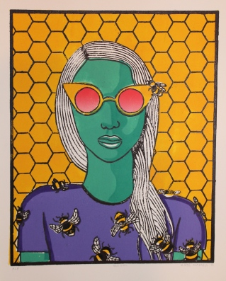 """Bee Girl 3"" Linocut on Rives BFK 12"" x 9 ½"""