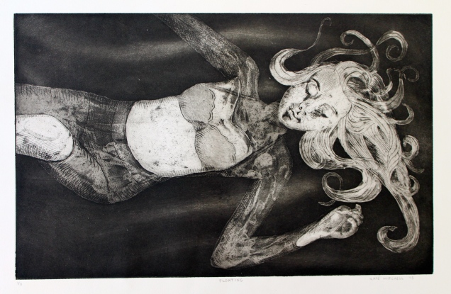"""Floating"" Aquatint and Drypoint etching on Rives BFK 11 ¼"" x 17 ¾"""