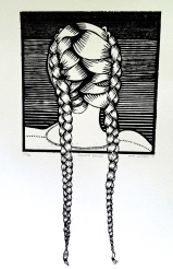 """French Braids"" Linocut on white Rives BFK 12"" x 6 ¼"""