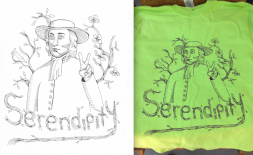 """Quaker Man"" featured on the front of Guilford College's Serendipity 2015 Staff t-shirt"