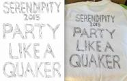 Text featured on the back of Guilford College's Serendipity 2015 t-shirt