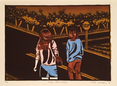 """Fran and Emma"" Linocut on Rives BFK 5""x7"""