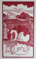 """Drinking Cat (red)"" Linocut on Rives BFK 5 3/4"" x 10"""