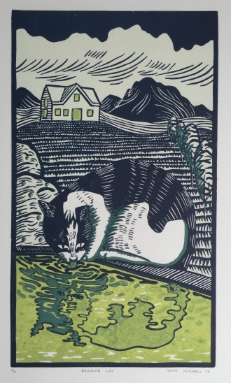 """Drinking Cat"" Linocut on Rives BFK 5 3/4"" x 10"""