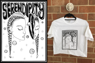 Design featured on the front of Guilford College's Serendipity 2016 t-shirt