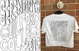 Text featured on the back of Guilford College's Serendipity 2016 t-shirt
