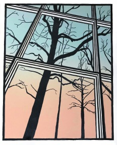 """Early Morning View,"" Linocut on Rives BFK 12 1/2"" x 10"""